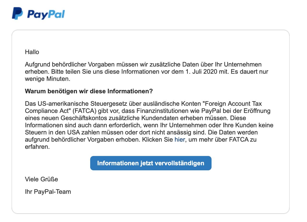Paypal Informationen Zu Ihrem Paypal Konto